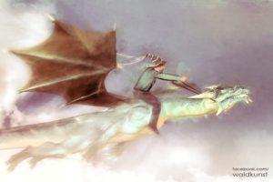Das Bild einer lieben Freundin von ihrer Weglicht Seite. Den Drachen reiten und ab durch die Lüfte